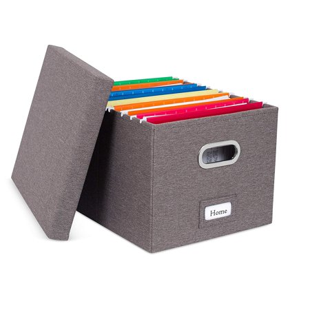 Internet's Best Collapsible File Storage Organizer | Decorative Linen Filing & Storage Office Box | Letter/Legal | Charcoal | 1