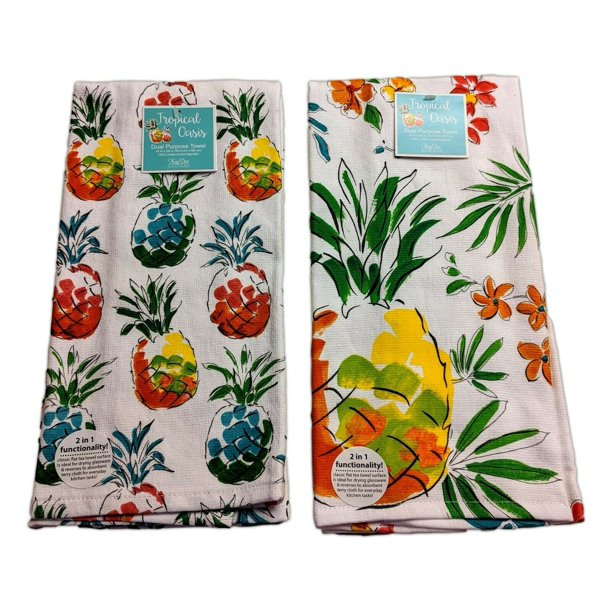 Set of 2 TROPICAL OASIS Pineapple Terry Kitchen Towels by ...