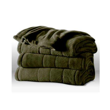 Sunbeam Heated Electric Blanket Channeled Microplush King Size Olive Green