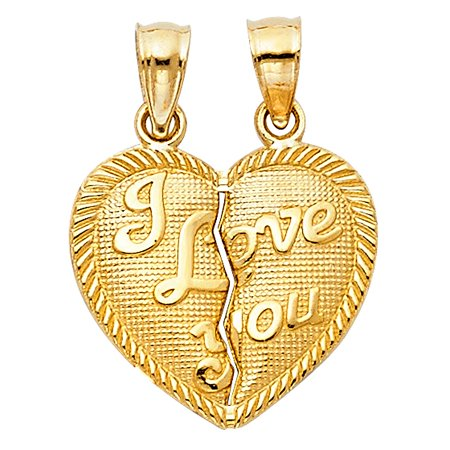 Half Moon Charm - I Love You Partner Heart Matching Half Charm Couple 2pcs 14k Yellow Solid Real Gold 17mm Small Pendant Necklace Fine Jewelry Ideal Gift