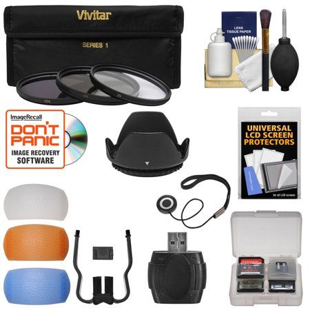 Essentials Bundle for Nikon D3200, D3300, D5200, D5300 & D5500 Camera & 18-55mm VR Lens with 3 UV/CPL/ND8 Filters + Lens Hood + 4 Pop-Up Flash Diffusers + Card + Kit