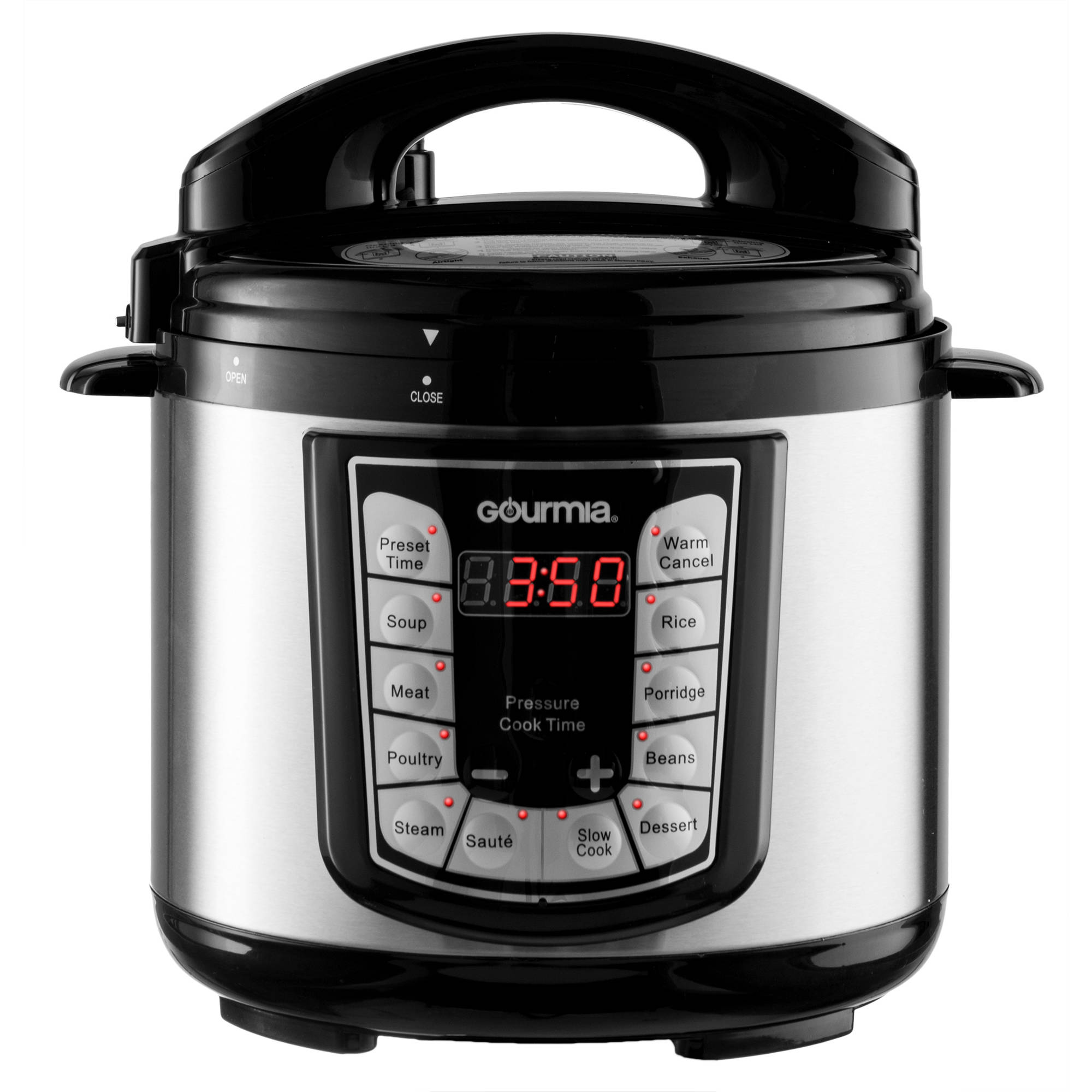 Gourmia GPC400 Stainless Steel 4-Quart Smart Pot Electric Digital Multifunction Pressure Cooker with 13 Programmable Cooking Modes