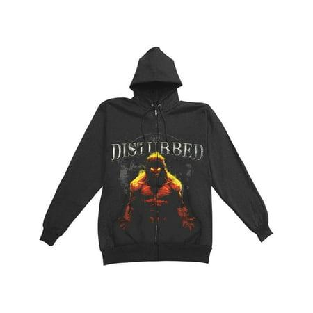 Disturbed Mens  Inside Zippered Hooded Sweatshirt Black
