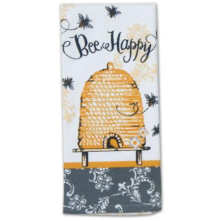 Bee Happy Yellow and Black Hive 28 Inch Kitchen Dish Tea Towel Cotton ()