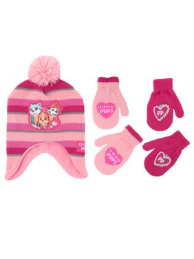 Nickelodeon Little Girls Paw Patrol Hat & 2 Pair Mittens/Gloves Cold Weather Accessory Set