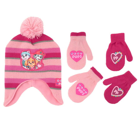 5fe807e8b078f Nickelodeon - Nickelodeon Little Girls Paw Patrol Hat & 2 Pair Mittens/ Gloves Cold Weather Accessory Set - Walmart.com