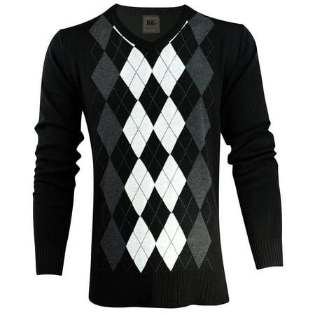 Enimay Mens Argyle V-Neck Golf Long Sleeve Sweater Black/White Size 2XL