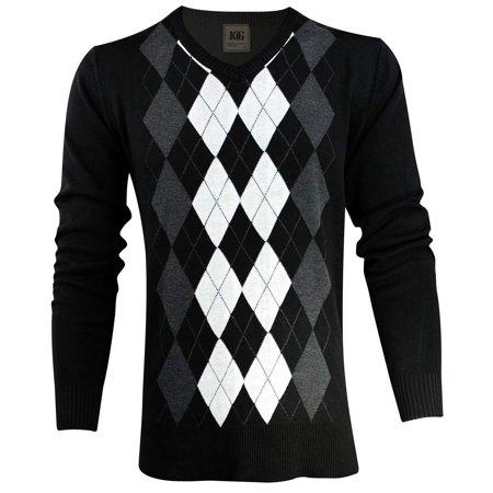 Enimay Mens Argyle V-Neck Golf Long Sleeve Sweater Black/White Size (Argyle Mens Sweater)