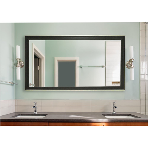 Rayne Mirrors American Made Extra Large 37.5 x 76.5-inch Vintage Black Vanity Wall Mirror - Black/Silver