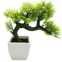 Mini Japanese Style Artificial Bonsai Tree with Plastic Pot for Home Decor(Purple)