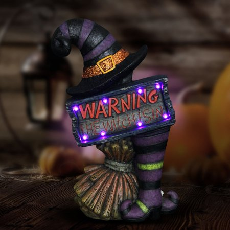 Exhart 17 in. Lighted Witch Warning Marquee Statue