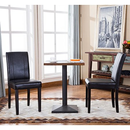 (Set of 2 Modern Wood Faux Leather Upholstery Dining Chair with Solid Wood Legs in Dark Espresso Finish - Includes Modhaus Living Pen (Black))