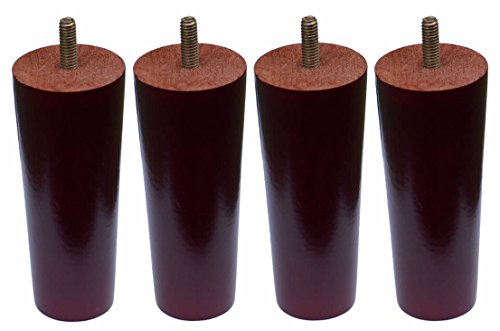 Set of 4 Plastic Tapered Sofa Legs 5 Inch Dark Walnut