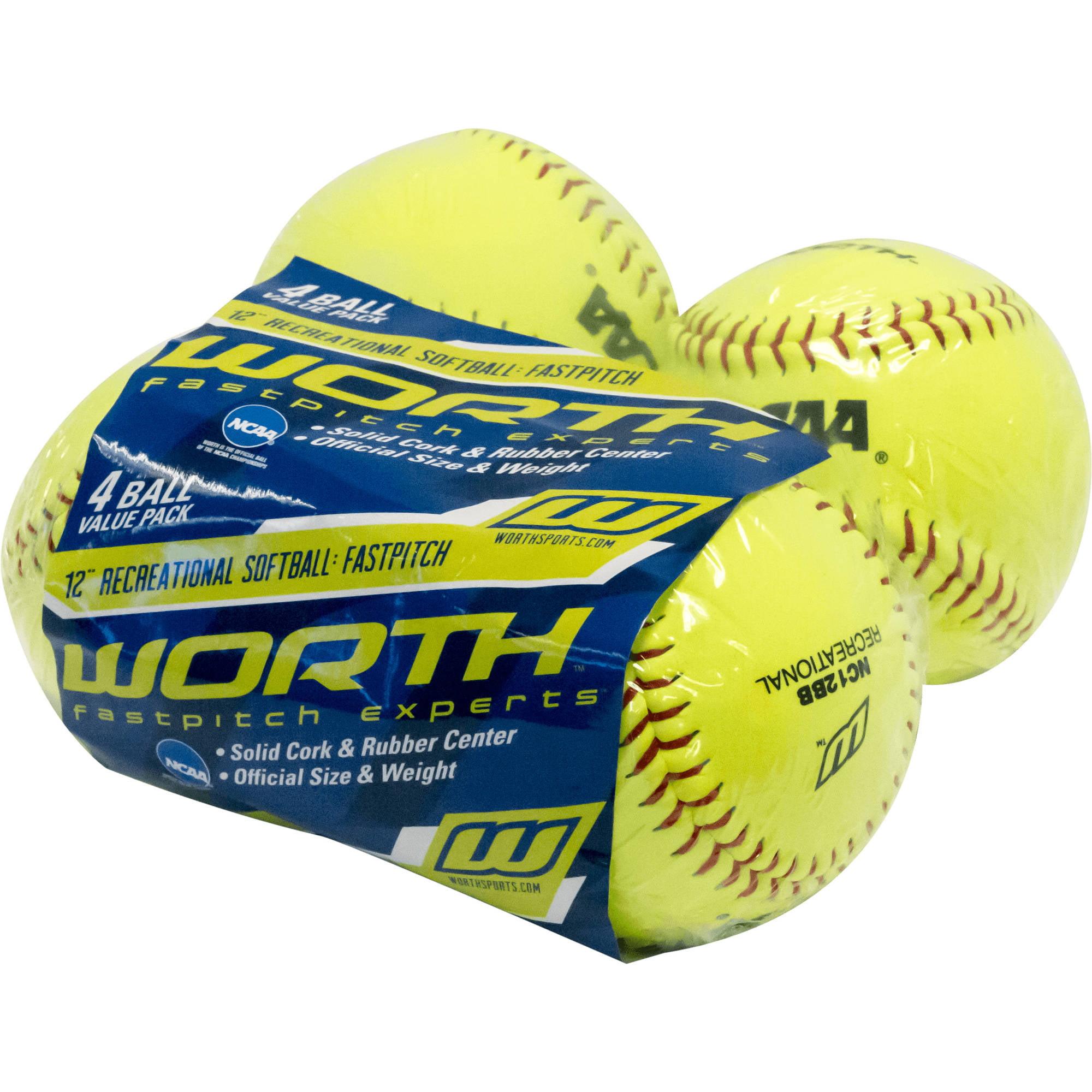 Worth 12'' White Practice Softballs, 4 pk by