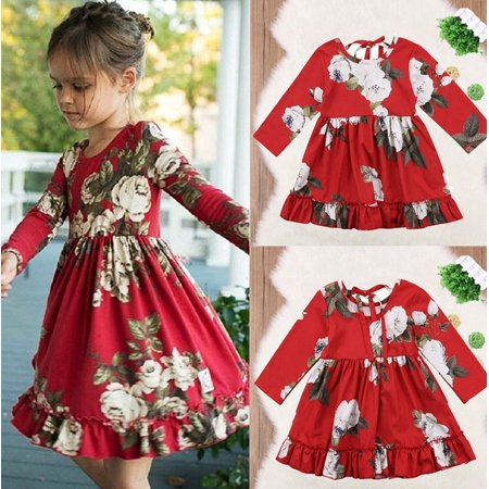 new fashion Summer Floral Toddler Kids Girls Long Sleeve Flower Party Dress Sundress Clothes 1-6Y - Party Long Dresses For Girls
