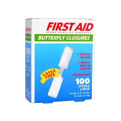"American White Cross Adhesive Bandages Sterile Butterfly 2 3/4"" x 1/2"" Bx/100"
