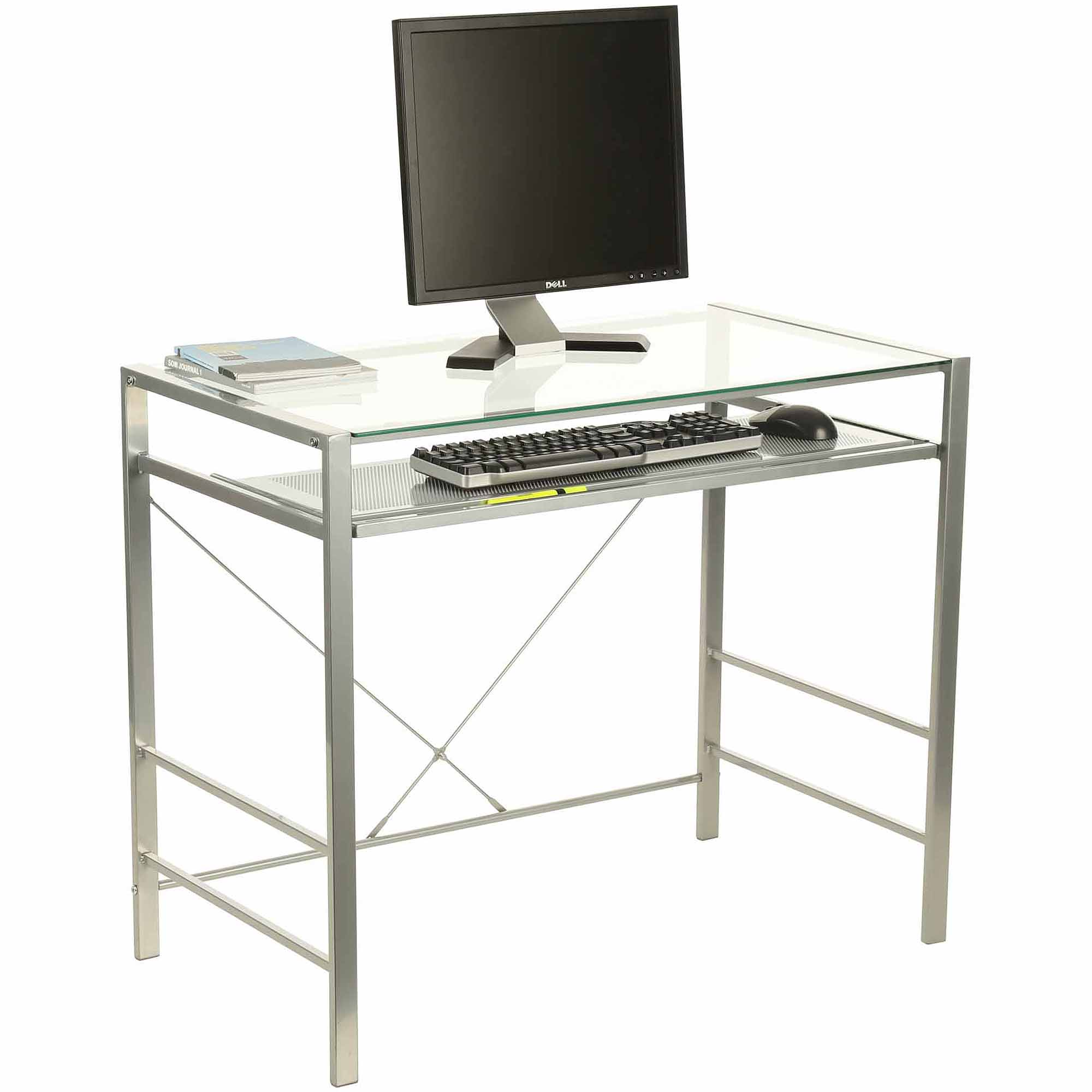 sports shoes 215a2 0da7d Capri Glass and Metal Desk, Silver