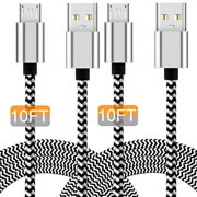 Micro USB Charging Cable, 10FT Nylon Braided Controller Charger, Charge and Play, Micro USB High Speed Charger Sync Cord for Controller Devices, Cell Phones and Tablets (2-Pack, 10 Foot)