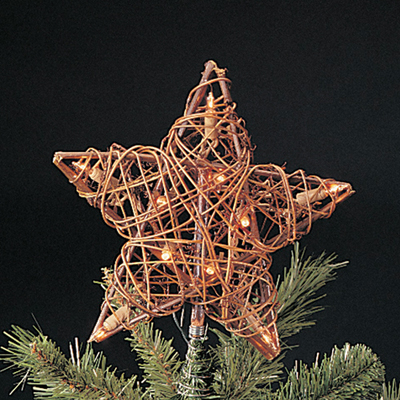 "9"" Eco Country Natural Brown Rattan Star Christmas Tree Topper - Clear Lights"