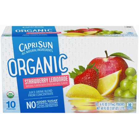 (4 Pack) Capri Sun Organic Strawberry Lemonade Ready-to-Drink Soft Drink, 10 - 6 fl oz Pouches (Lemonade Bar)
