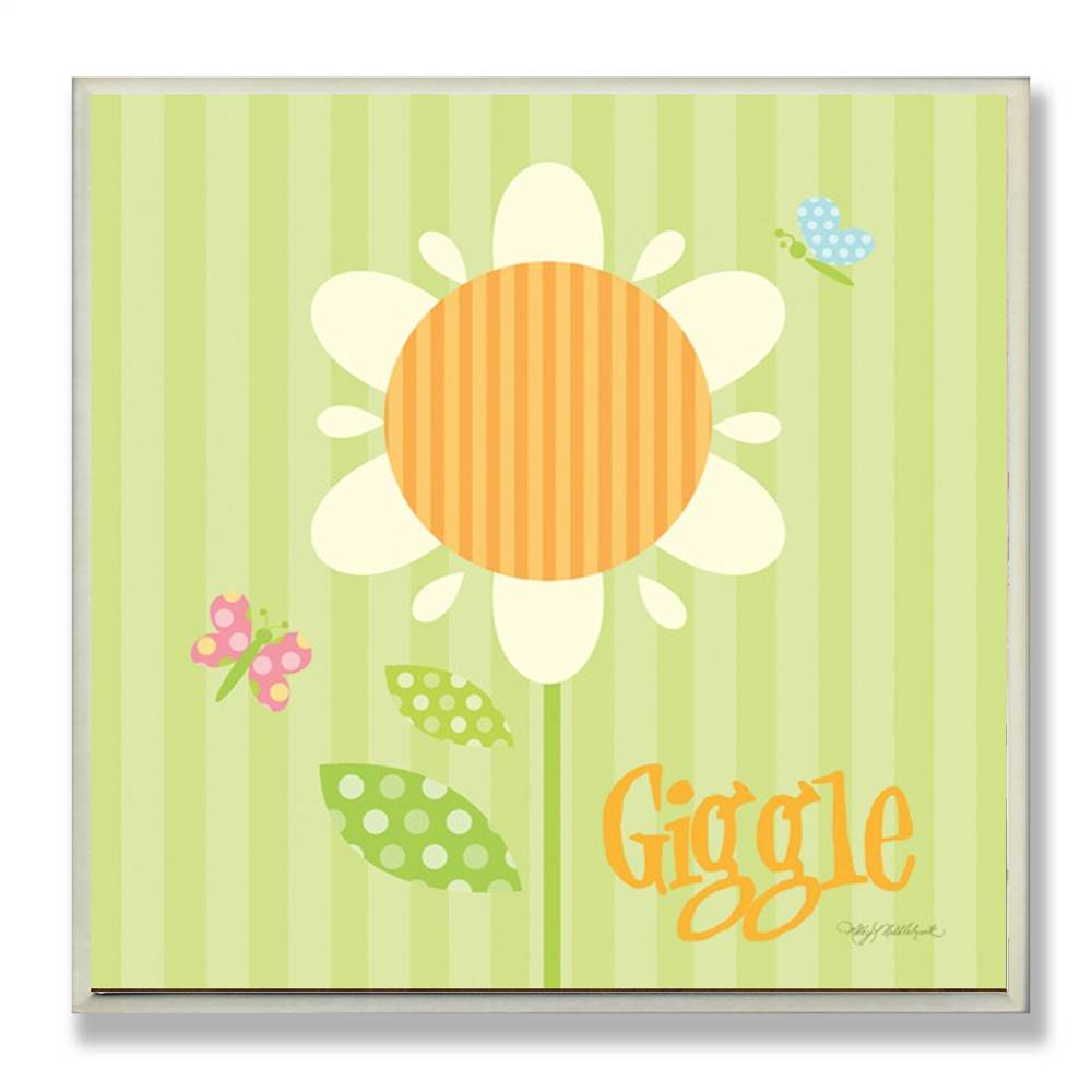 Giggle Floral Green Square Wall Plaque