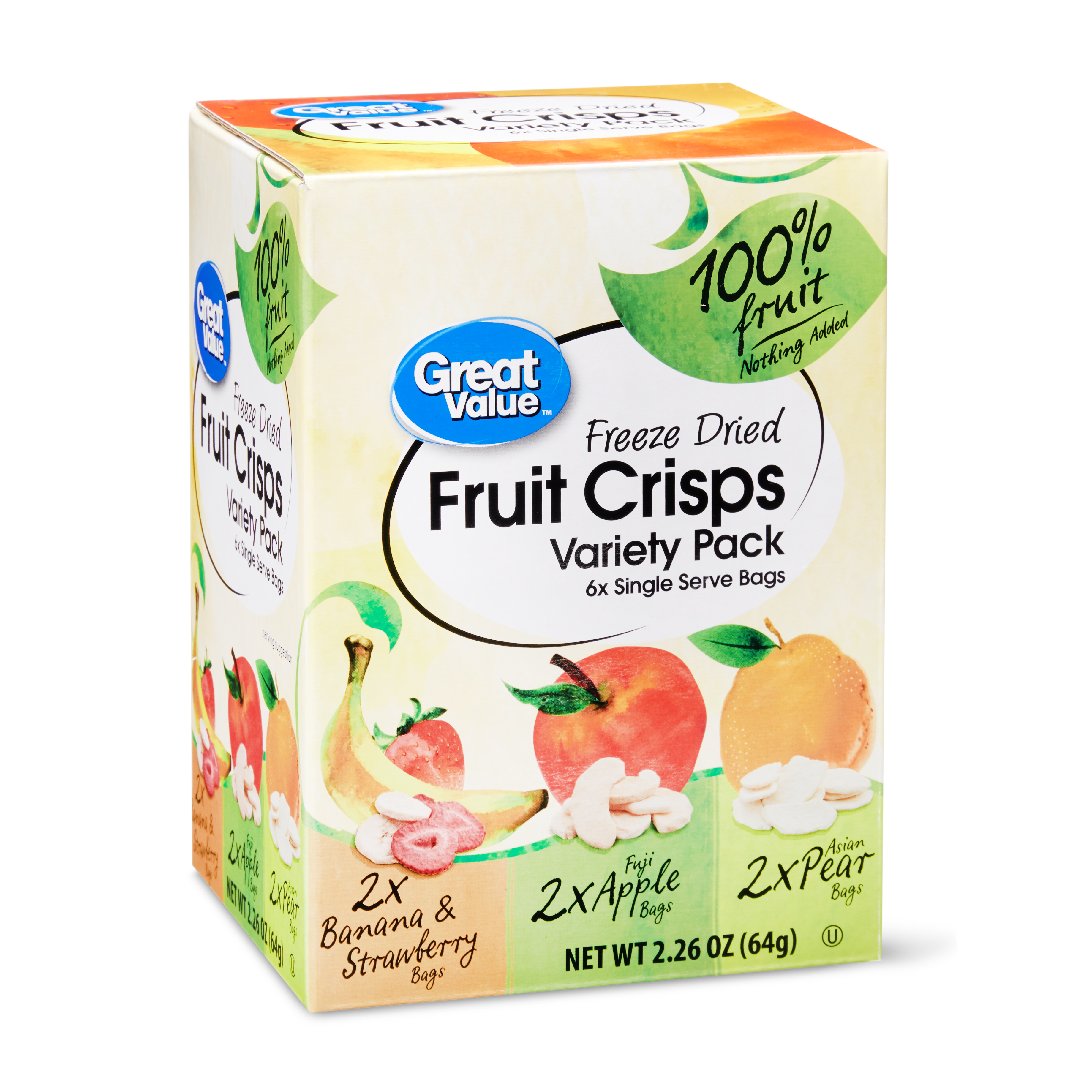 Great Value Freeze-Dried Fruit Crisps Variety Pack, 2.26 Oz., 6 Count