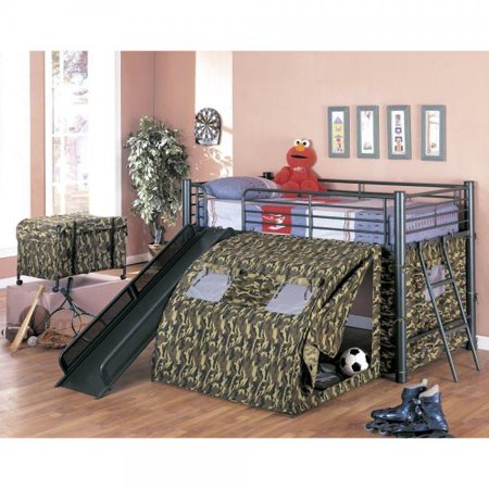 Tent Only Loft Bunk - coaster home furnishings kids camo tent twin loft bunk bed with slide - camouflauge