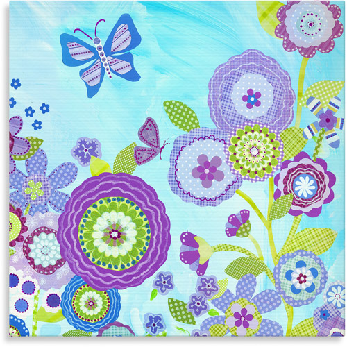 Oopsy Daisy Too Flowers and Butterflies, Canvas Wall Art