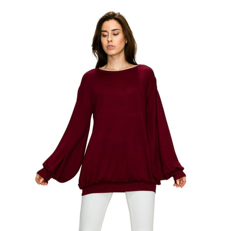 MBJ WT1944 Womens Long Sleeve Bubble Bottom Top - Made in USA M WINE