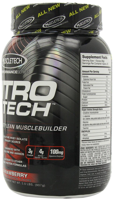 Muscletech Performance Series Nitro Tech Whey Protein Supplement Nitrotech 4 Lbs Strawberry Powder 2lb