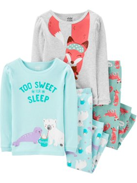 Child of Mine by Carter's Baby Toddler Girl Snug Fit Cotton Long Sleeve Pajamas, 4pc Set