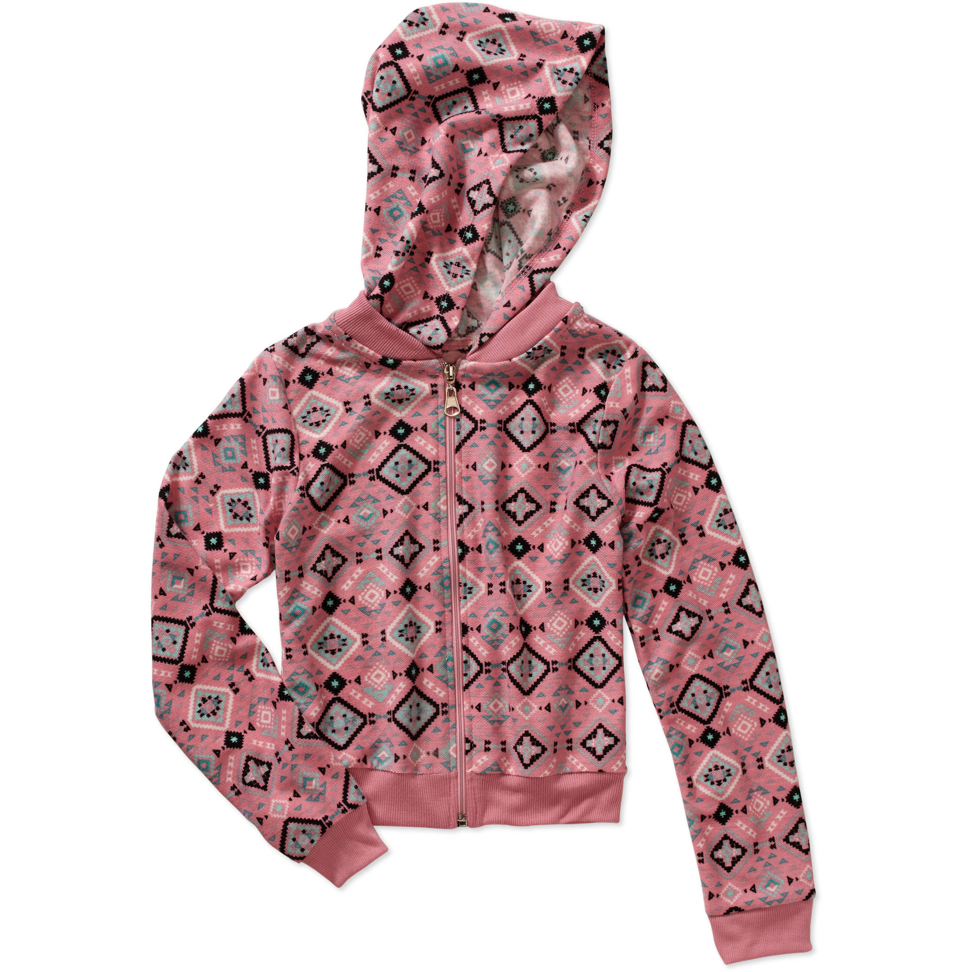 One Step Up Girls' Aztec Boutique Printed Hooded Zip-Up Loop Terry Jacket