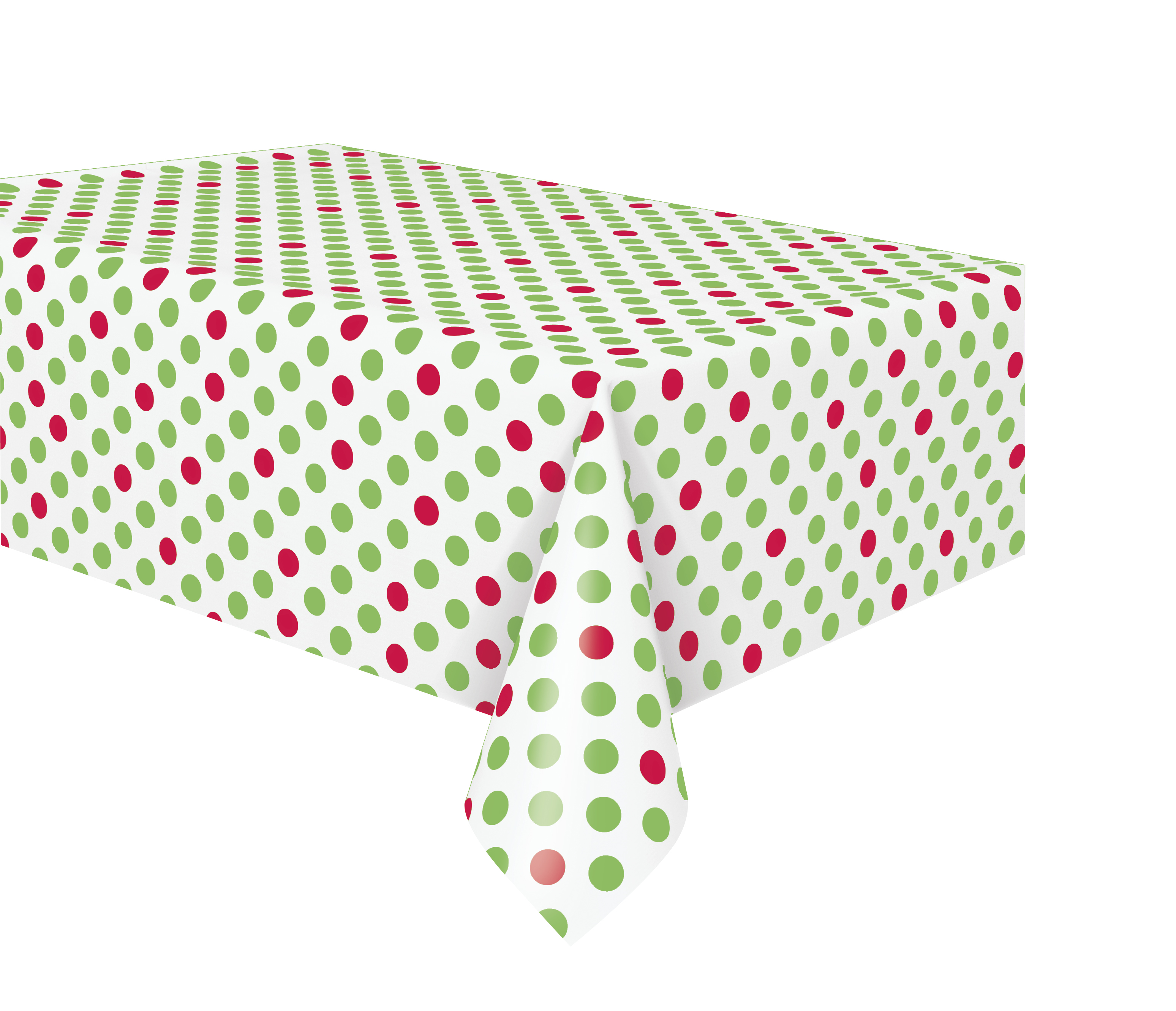 Unique Red And Green Polka Dot Christmas Plastic Tablecloth 108 X 54 In 1ct