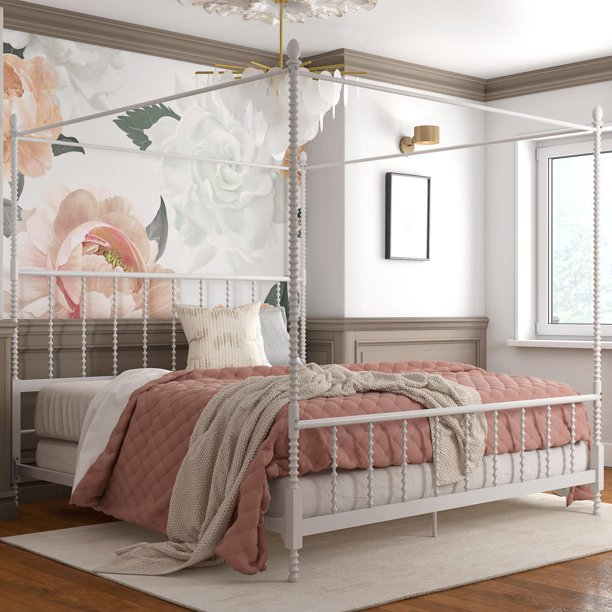Dhp Anika Metal Canopy Bed King Size Frame Bedroom Furniture White Walmart Com Walmart Com