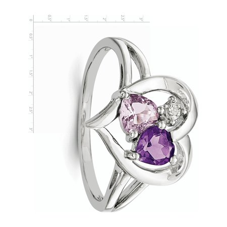Sterling Silver Rhodium-plated Amethyst & Pink Quartz & Diamond Ring - image 2 of 3