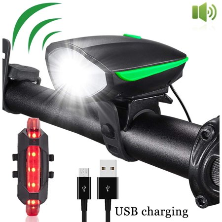 Best Bike Lights with Super Loud Bike Horn, Night Bicycle Safety Flashlight, USB Rechargeable & Waterproof LED Bicycle Light set, Bike Light Set, 3 Modes Headlight and 4 Modes Taillight, Fast