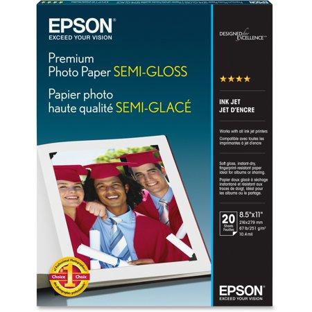 Epson, EPSS041331, Premium Semi-Gloss Photo Paper, 20 / Pack, White
