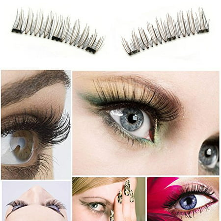 Fake Flesh Makeup (2Sets/8Pcs Triple Magnetic False Eyelashes (Clue Free)–Natural Ultra Thin 3D Reusable Fiber Fake Lashes Extension Makeup, Handmade)