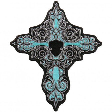 RHINESTONE TURQUOISE CROSS - Iron On PATCH, Licensed Original Artwork, 4
