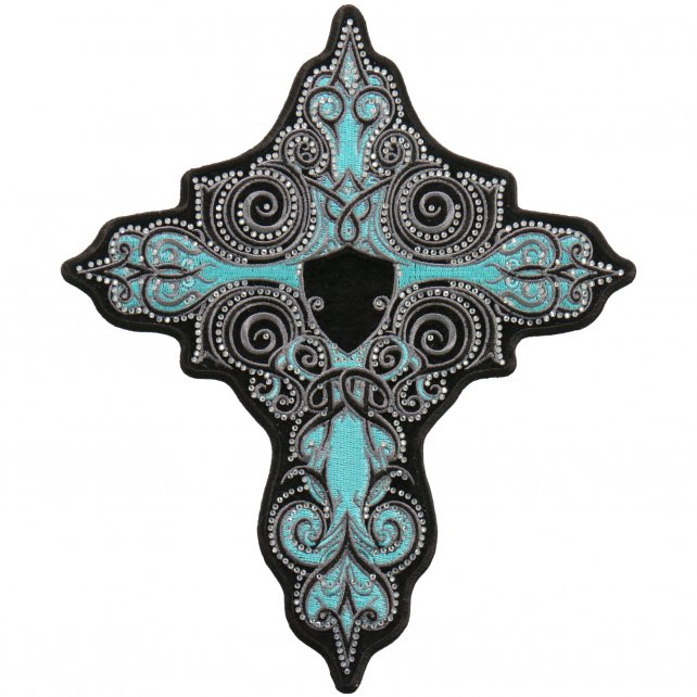 "RHINESTONE TURQUOISE CROSS - Iron On PATCH, Licensed Original Artwork, 4"" x 5"""