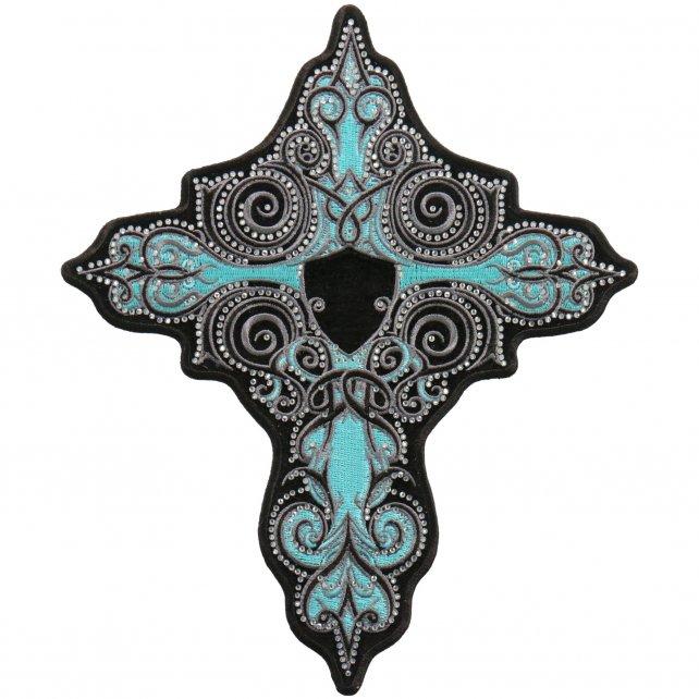 "RHINESTONE TURQUOISE CROSS - Iron On PATCH, Licensed Original Artwork, 4"" x 5"""