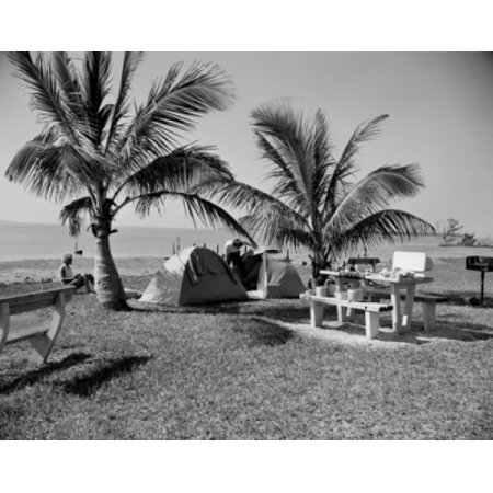 Image of Campers relaxing on beach with palm trees Canvas Art - (18 x 24)