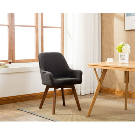 Porthos Home Dining Chairs Modern Designer Dining Room Chairs with Armrests Superb Comfort, Unique Style, Oak Wood Legs, Affordable Quality Upholstered Dining Room Furniture 33 x 23 x 22 inch in Grey ()