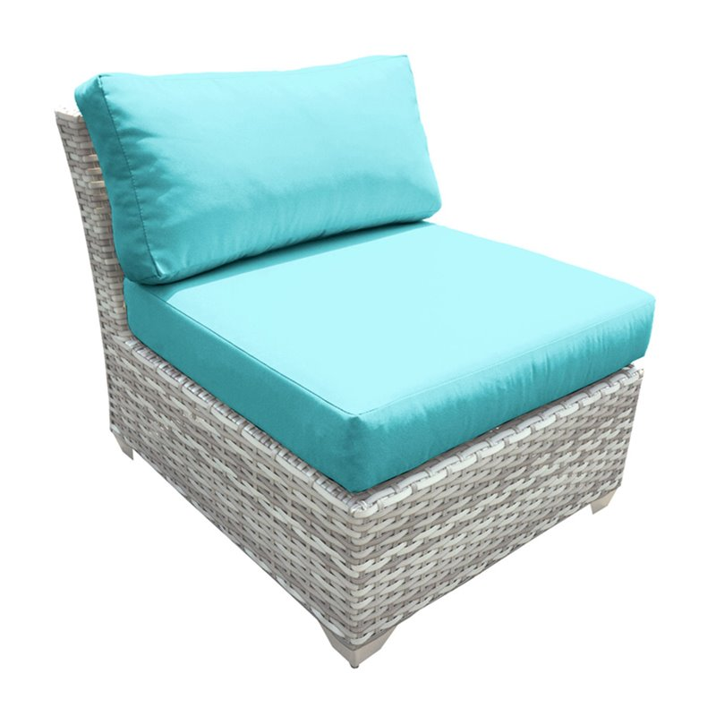 Bowery Hill Armless Patio Chair in Turquoise