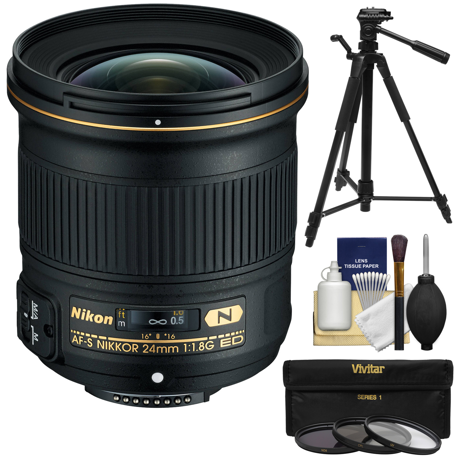 Nikon 24mm f/1.8G AF-S ED Nikkor Lens with 3 (UV/CPL/ND8) Filters + Tripod + Kit