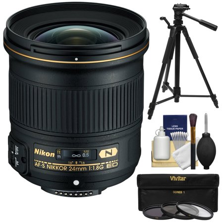Nikon 24mm f/1.8G AF-S ED Nikkor Lens with 3 (UV/CPL/ND8) Filters + Tripod +