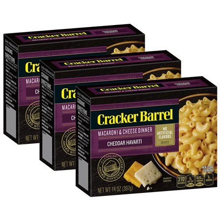 (3 Pack) Cracker Barrel Cheddar Havarti Macaroni & Cheese, 14 oz -