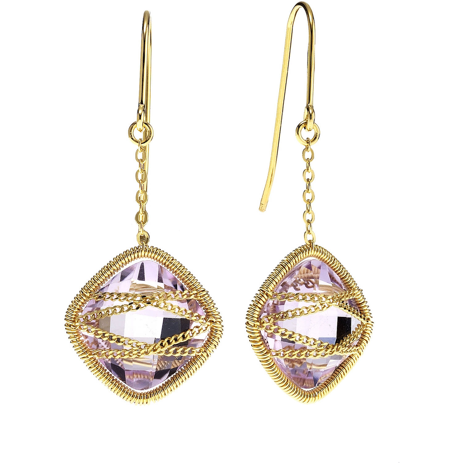 Image of 5th & Main 18kt Gold over Sterling Silver Hand-Wrapped Squared Amethyst Stone Earrings