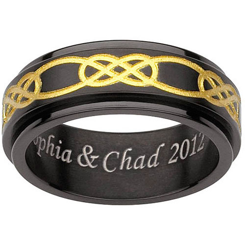 Personalized Men's Black and Gold Titanium Celtic Engraved Spinner Band