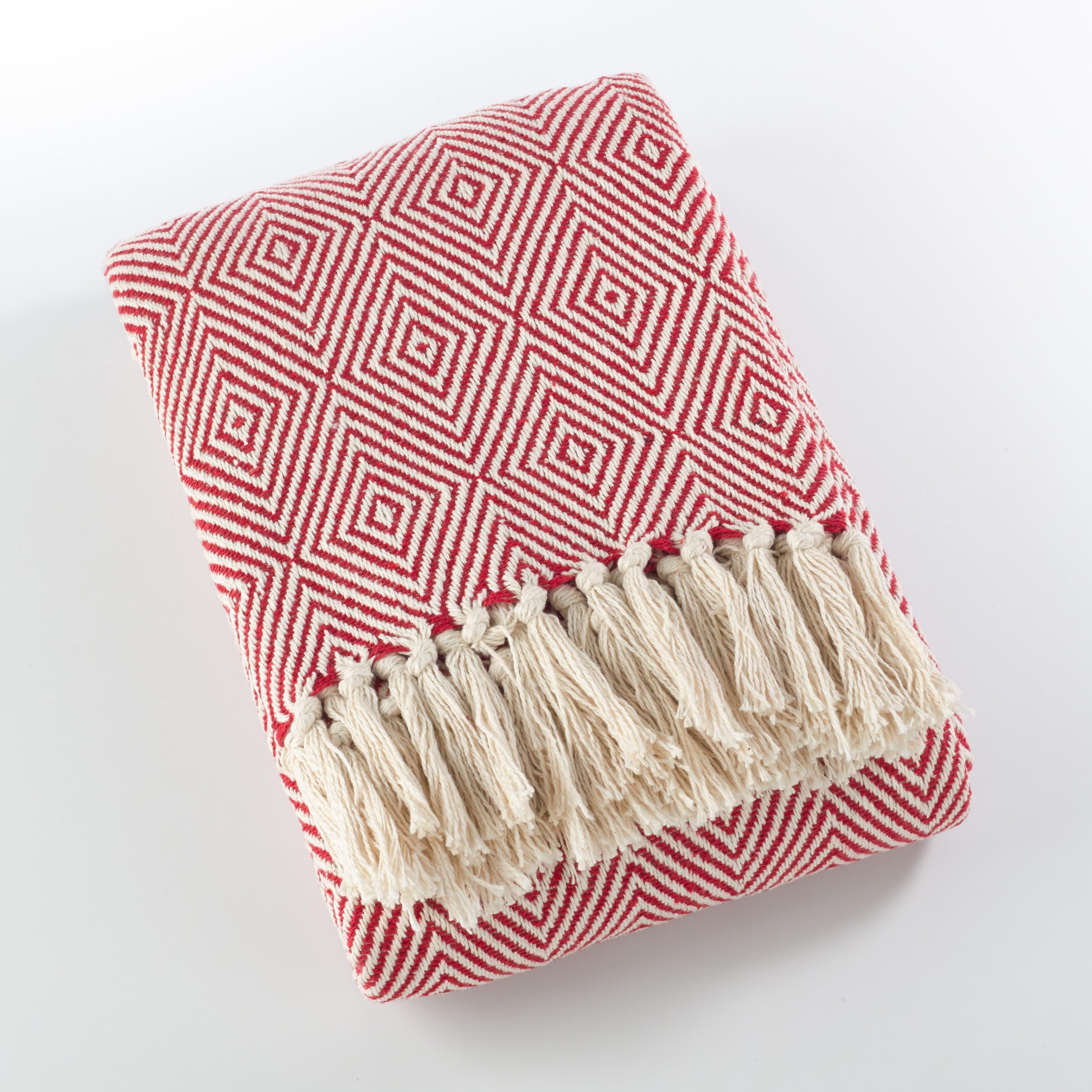 Saro Cotton Throw Blanket With Diamond Weave Design